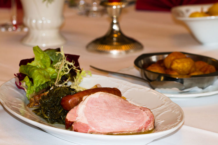 Close-up of meal served in plate on table