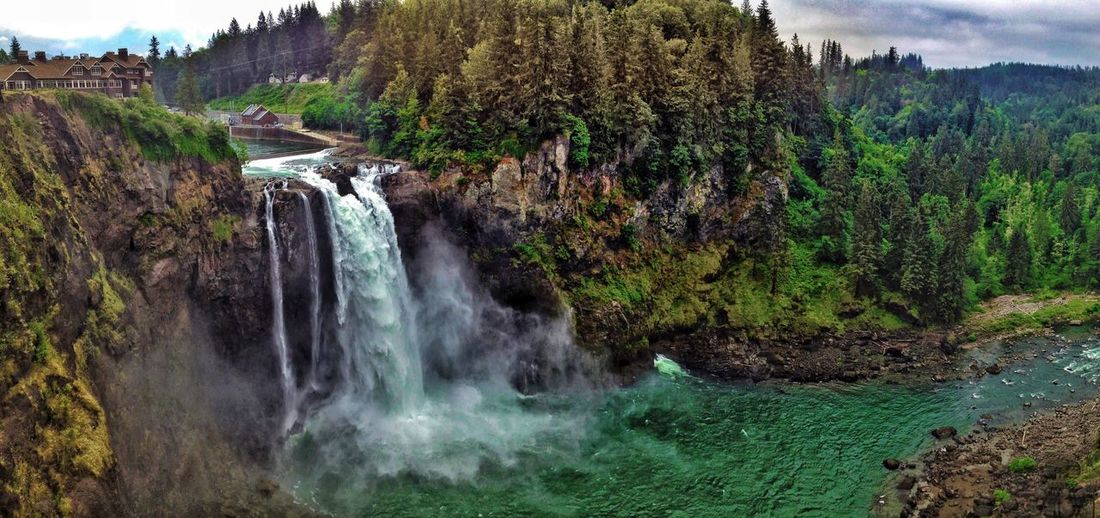 Snoqualmie Falls, Washington Waterfall Tree Scenics Nature Forest Beauty In Nature Mountain River Landscape Rock - Object Tranquility Water Tranquil Scene Growth Outdoors No People Travel Destinations Plant Day Adventure