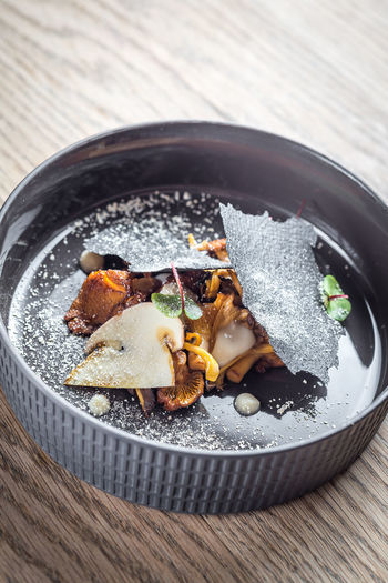Autumn Food And Drink Herb Black Fine Dining Food Foodphotography Freshness Garnish Gourmet Healthy Eating High Angle View Indoors  Luxury Mushroom No People Plate Ready-to-eat Restaurant Serving Size Table Temptation Wellbeing