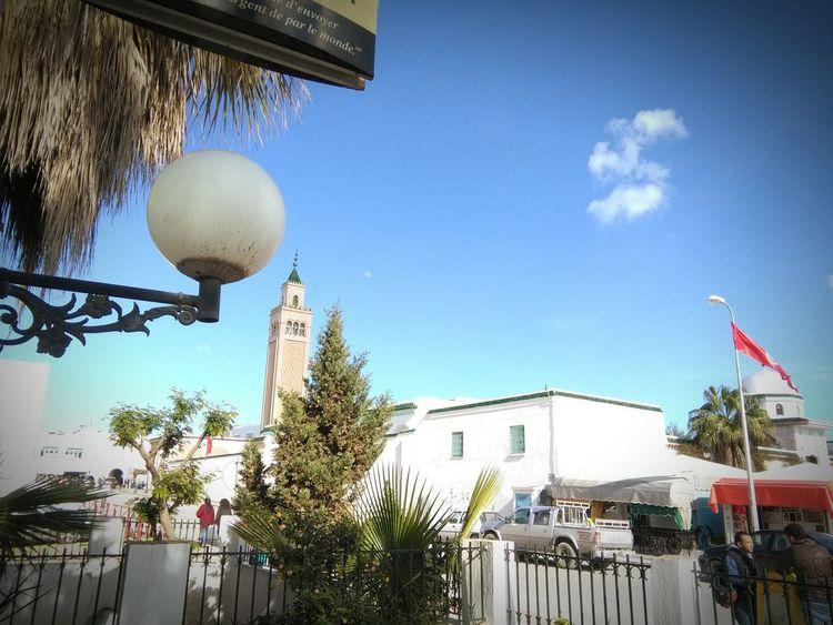 Praying Mosque Tunisie Cloudy Days Sunshine