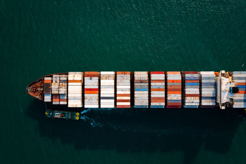 container cargo ship in import export business service commercial trade logistic and transportation