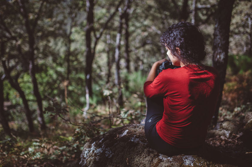 Adult Adults Only Day Depression - Sadness Forest Girl Girl In Red Nature Nature Nature_collection One Person One Woman Only Outdoors Pain People Photographer Red Red Tree Women Young Adult Go Higher