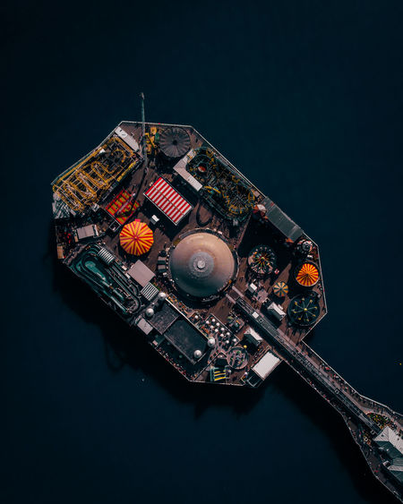 Aerial view of amusement park in sea