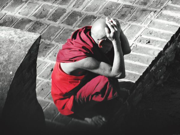 Troubled monk, Bagan, Myanmar. Real People Lifestyles One Person Red Outdoors Leisure Activity Day Men Monk  Buddhism Southeastasia Spirituality Troubled Blackandwhite EmNewHere EyeEm Best Shots Temple Buddhist Temple