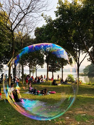 IPhoneography Tree Park - Man Made Space Water Leisure Activity Day Rainbow EyeEmNewHere Bubble Wand