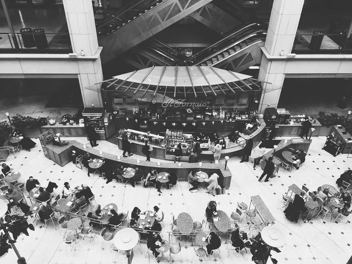 Blackandwhite Cafe Cafe Lunch Coffee Break Lunch Time! Resturant Shopping Center Shopping Mall Architecture large group of objects High Angle View city Indoors  retail Full Frame business City Life winter Urban