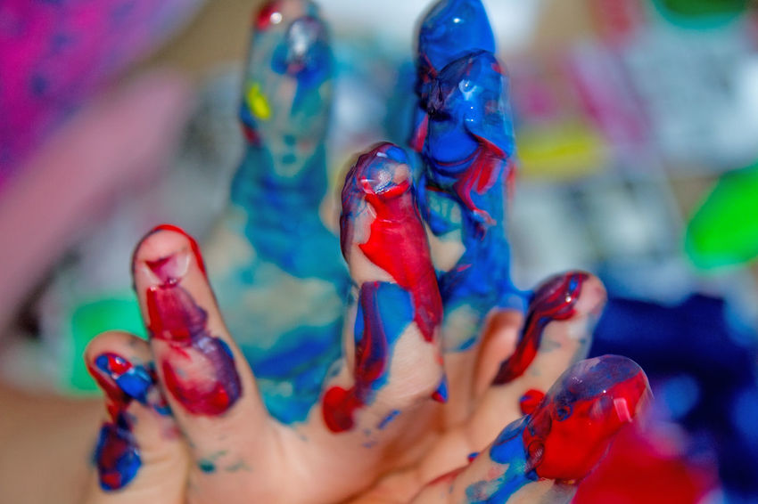 Art And Craft Blue Child Photography Close-up Colorful Creativity Finger Painting Focus On Foreground Fun Hands Happy Hobbies Indoors  Multi Colored Red Vibrant Color