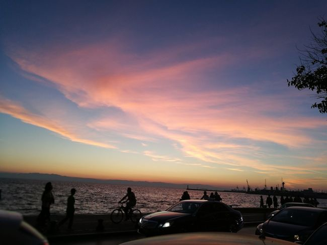 Sunset Sea Water Sky Nature City Thessaloniki Greece Thessaloniki Sunset Purple Sky Beautiful Colors Love My City No Filter The Most Beautiful City