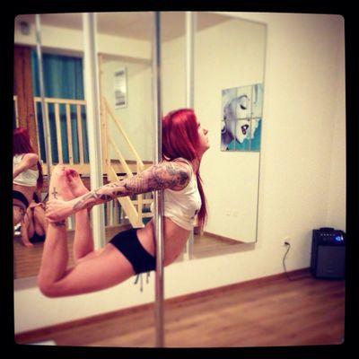 Pole Dance Tattoo Red Hair