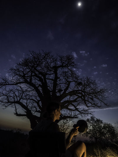 Amazing View Astronomy Bare Tree Beauty In Nature Branch Bush Cloud - Sky Fairy Feerique Leisure Activity Lifestyles Moon Nature Night Outdoors Real People Safari Silhouette Sky South Africa Standing Star - Space Tree Wilderness Baobab