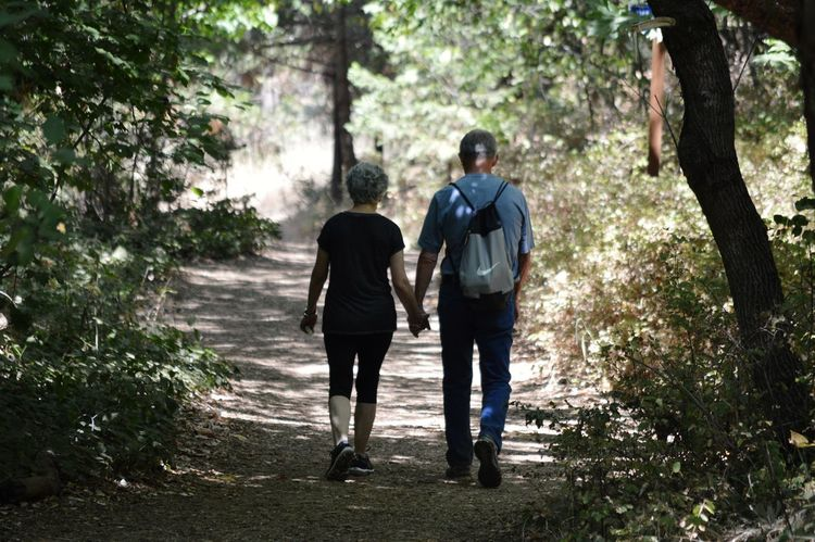 Love Is Never Old Rear View Walking Full Length Togetherness Love Adult Hiking Two People People Bonding Nature Day Outdoors Forest Beauty In Nature Tree Oregon Ashland, OR Lithia Park
