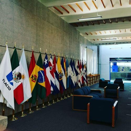 Imaginen que en la biblioteca de su escuela tuvieran todas las banderas donde tiene alguna sede... ¿Dónde anda la bandera de su pais? FLACSO Mexico City Phd Indoors  Library Student Life First Eyeem Photo