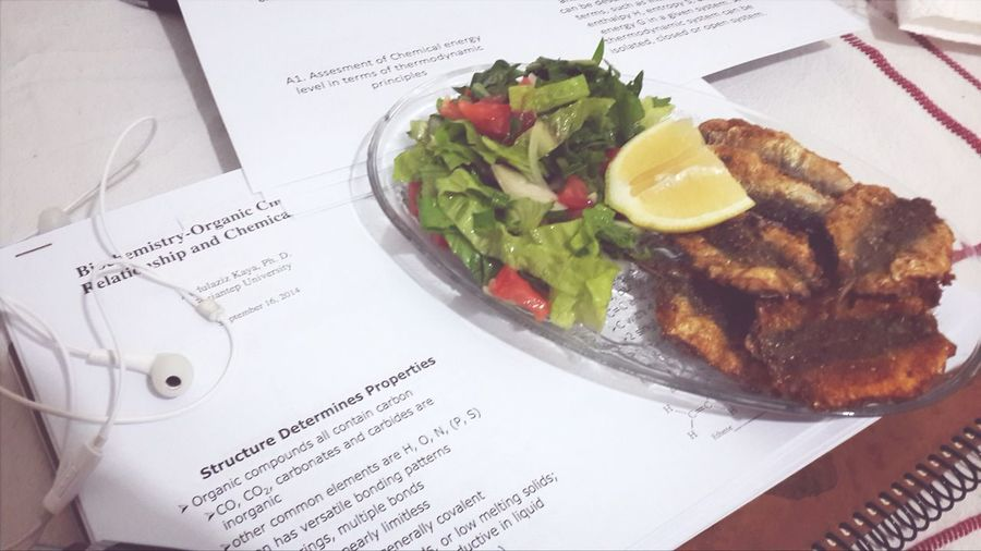 Why does my mom always get meal to me while i'm studying? Fish And Salad Enjoy A Meal