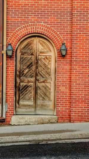 Check This Out Old Door Architecture Arched Doorway Red Brick Wall Downhill Slanted Another Brick In The Wall