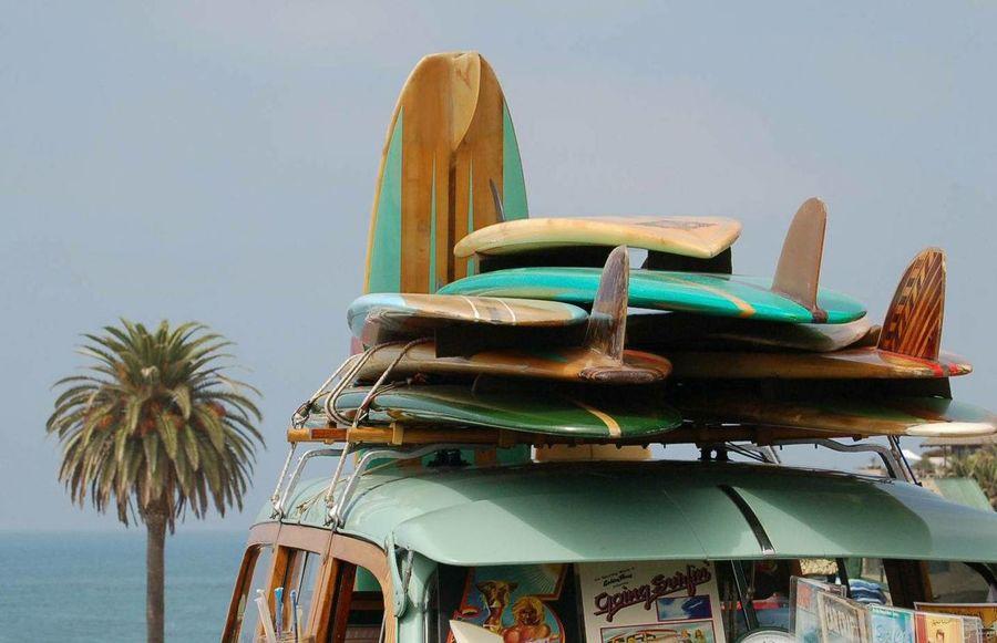 MOONLIGHT BEACH, CALIFORNIA Beach California Dreaming Fun Cars No People Outdoors Surfboards Surffing  Woodie