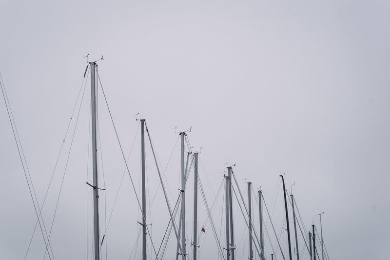 Boats Clear Sky Copy Space Day Low Angle View Mast Mode Of Transportation Nature Nautical Vessel No People Outdoors Pole Rigging Sailboat Sailing Sea Ship Sky Transportation Travel Water