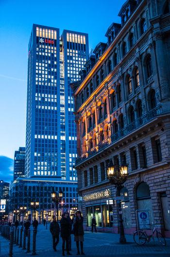 Frankfurt, Banks and Skyline by night Buliding City Light Lights Opernplatz Skyline Skyscrapers Bank Building Banking Evening Night Pedestrian