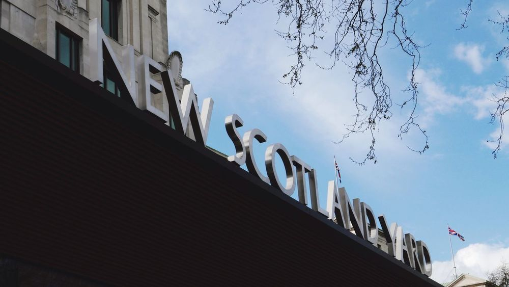 New Scotland Yard London Police New Scotland Yard Low Angle View Building Exterior Sign Day Outdoors No People Copy Space