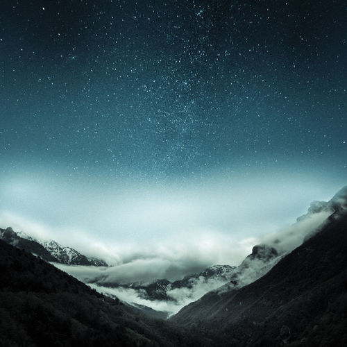 Astronomy Beauty In Nature Cold Temperature Environment Landscape Mountain Mountain Peak Mountain Range Nature Night No People Non-urban Scene Outdoors Scenics - Nature Sky Snow Snowcapped Mountain Space Star - Space Tranquil Scene Tranquility Winter