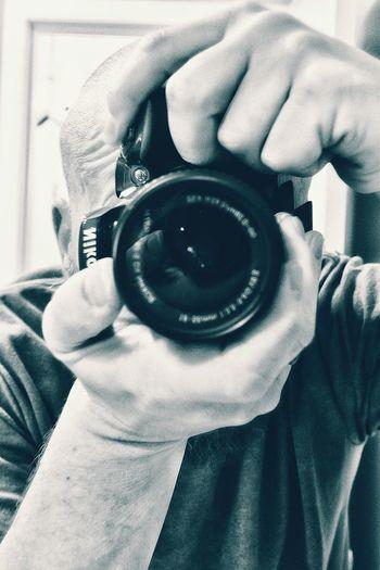 Blackandwhite Close-up Selfportrait Selfies Mirror Camera Lens Baldhead Nikon D5500