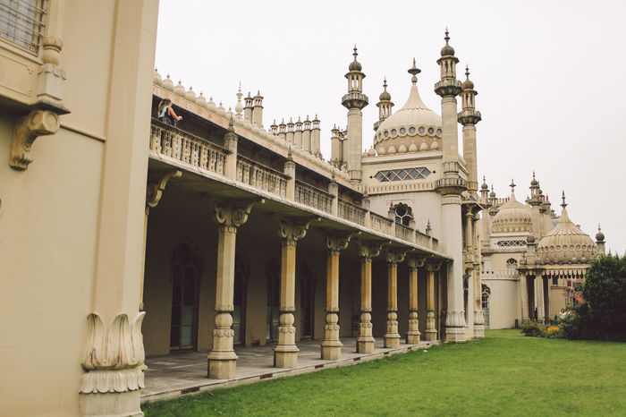 Ancient Arch Architectural Column Architecture Brighton Built Structure Capital Cities  Column Day Exterior Façade Famous Place Grass Historic History Low Angle View No People Outdoors Royal Pavilion Royal Pavilion Gardens Sky The Past Tourism Travel Destinations