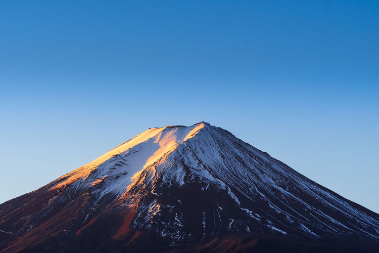 Low angle view of volcanic mountain against clear blue sky