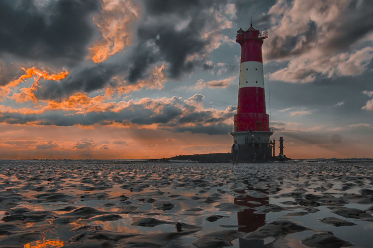 Sunset Lighthouse Sky Night Beach Tideland Cloud Horizon Over Water Outdoors Reflection Arngast Dangast Ostfriesland Jadebusen Wihelmshaven Watt Wattwanderung