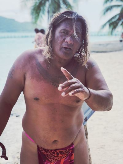 Tahitian EyeEm Selects Real People Lifestyles One Person Shirtless Beach Front View