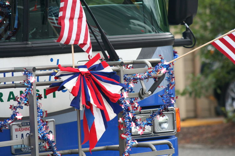 4th Of July 2016 4th Of July Parade American Flag Celebration Close-up Culture Day Focus On Foreground Mode Of Transport Multi Colored No People Outdoors Parade Part Of Patriotism Red Sommergefühle