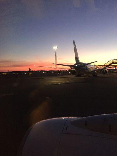 Here we go ✈️ Sky Sunset Airplane Travel Denmark Plane Sun