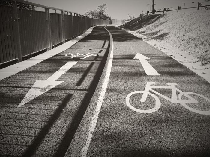 Cycling Around On The Road Cyclepath Twoways Two Ways To Go Interesting Perspectives EyeEm Gallery Black And White Collection  EyeEm Best Shots - Black + White Black & White Blackandwhite Photography Relaxing Time Relaxing Moments Sportday Chosen Paths Driving Around Signs Sign On The Road Signs_collection Road Signs Street Black And White