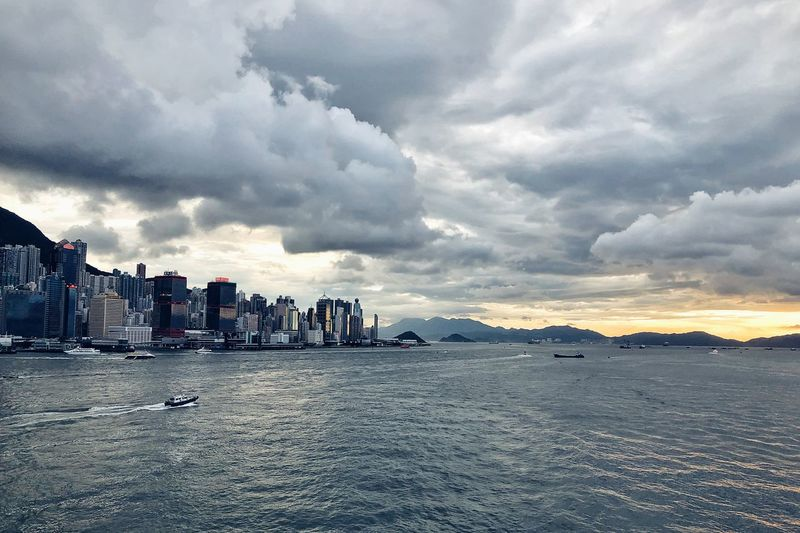 Rainy Days Harbour Before The Storm Victoria Harbour Hong Kong Ocean Sky Cloud - Sky Water Sea Architecture Built Structure Beach Building Exterior Nature Land Scenics - Nature City Beauty In Nature Tranquility No People Outdoors Building Travel Destinations Travel Cityscape