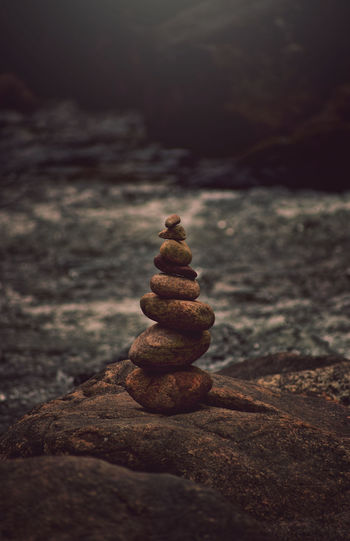 Stack of pebbles on shore