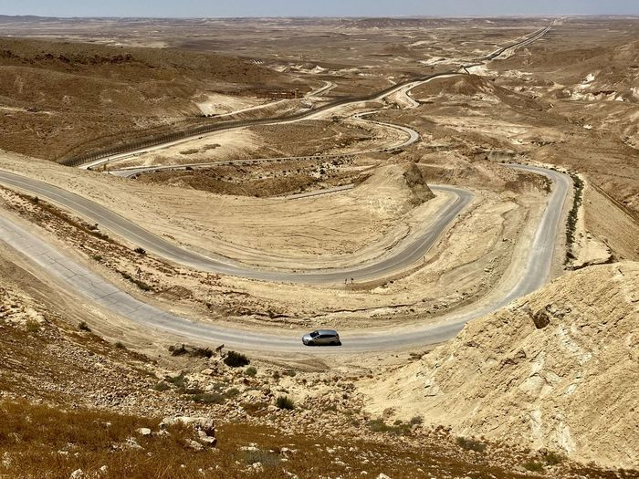 High angle view of road in desert