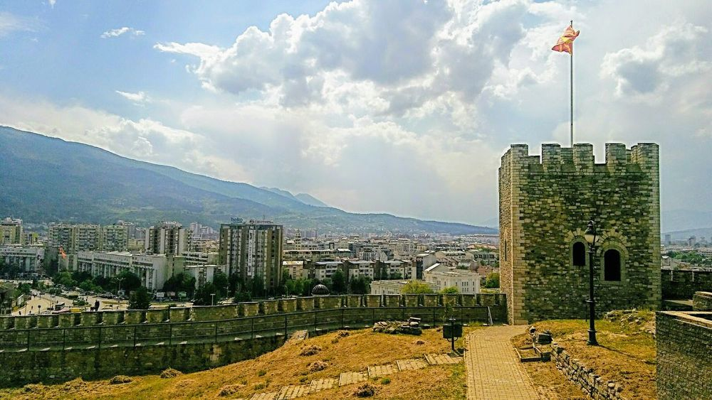 Kale fortress,Skopje Macedonia Fortress In Europe Fortress Europe Fortress Fortress Of Stone Fortress Walls Fortress Towers Cityscape City View  Republic Of Macedonia Skopje Skopje Fortress Cloud - Sky Flag Outdoors Sky Day Building Exterior Skyscraper Mountain Cityscape City Built Structure History Architecture