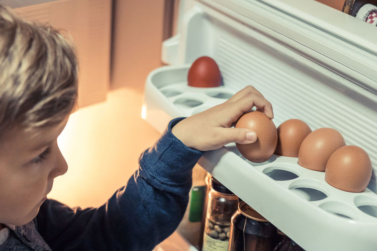 Close-up of boy keeping egg in refrigerator at home