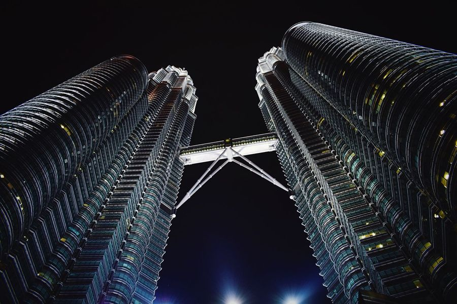 Night Architecture Low Angle View Building Exterior Built Structure Modern Illuminated No People Outdoors Sky Skyscraper City Malaysia Kuala Lumpur Kuala Lumpur Malaysia  Petronas Twin Towers Petronas Petronas Towers