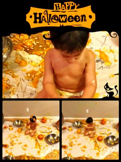"""Lets carve pumpkins"" they said. ""It wont be messy"" They Said One Person Shirtless Domestic Room Indoors  October Afternoon EyeEm Photo Of The Day The Way Forward Isnt Nature Grand? Essence Of Fall The Week On EyeEem Beauty In Nature Multi Colored Autumn Growth Architecture Vibrant Color"