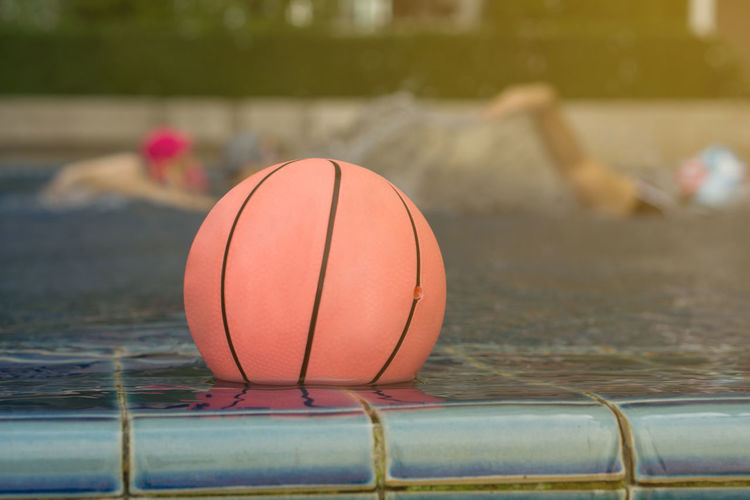 Close-up of ball in swimming pool