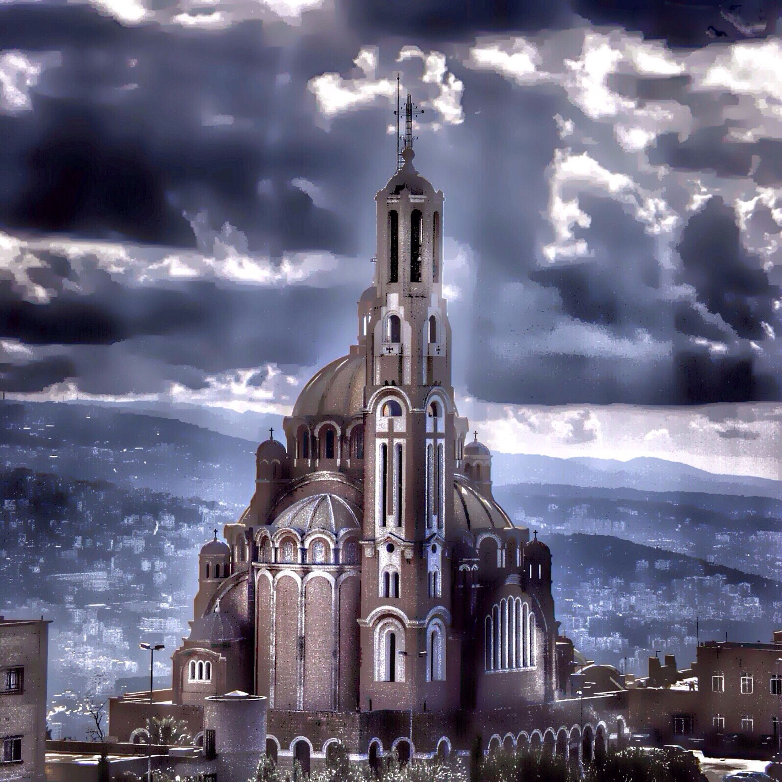religion, spirituality, place of worship, church, architecture, building exterior, built structure, sky, cathedral, cloud - sky, travel destinations, tourism, bell tower - tower, bell tower, tower, famous place, outdoors, history, sea, tall - high, town, old town, culture, cloudy, baroque style, facade, cloudscape