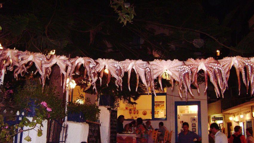 Learn & Shoot: After Dark GREECE ♥♥ Naxos_island People Eating Greek Islands Greek Food Greek Taverna Greek Tavern Octapus Summertime Summerholidays Reastaurant
