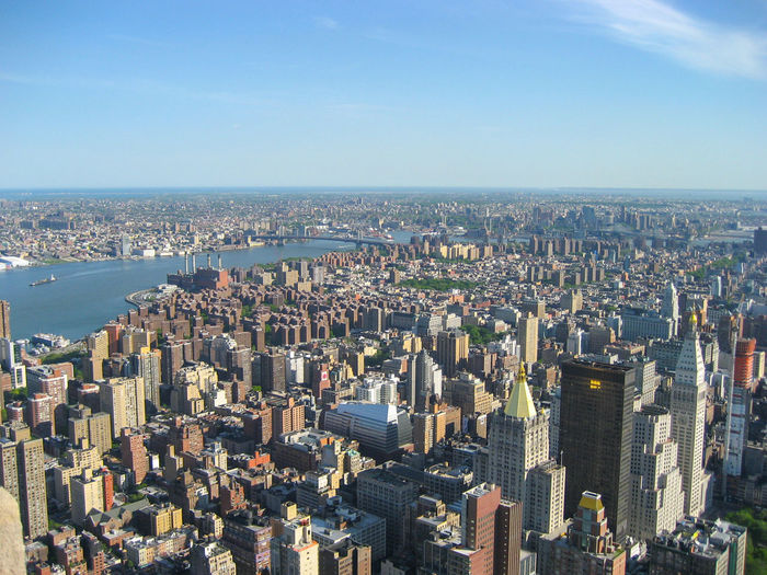 View from Empire State Building over New York City, Manhattan Manhattan Top View Aerial View Architecture Building Building Exterior Built Structure City Cityscape Crowd Crowded Day Financial District  High Angle View Horizon Modern Nature Office Building Exterior Outdoors Residential District Sky Skyscraper Top View Water