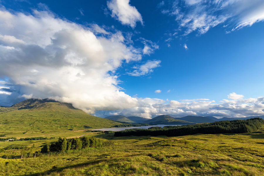 Loch Tulla and the Black Mount in the Central Scottish Highlands, United Kingdom. Black Mount Loch  Scotland Scottish Trossachs United Kingdom Bridge Of Orchy Clouds Countryside Highlands Lake Landscape Lanscape Loch Tulla Mount Mountain Nature No People Outdoors Scenics Scottish Highlands Sky Sunset Tulla Uk
