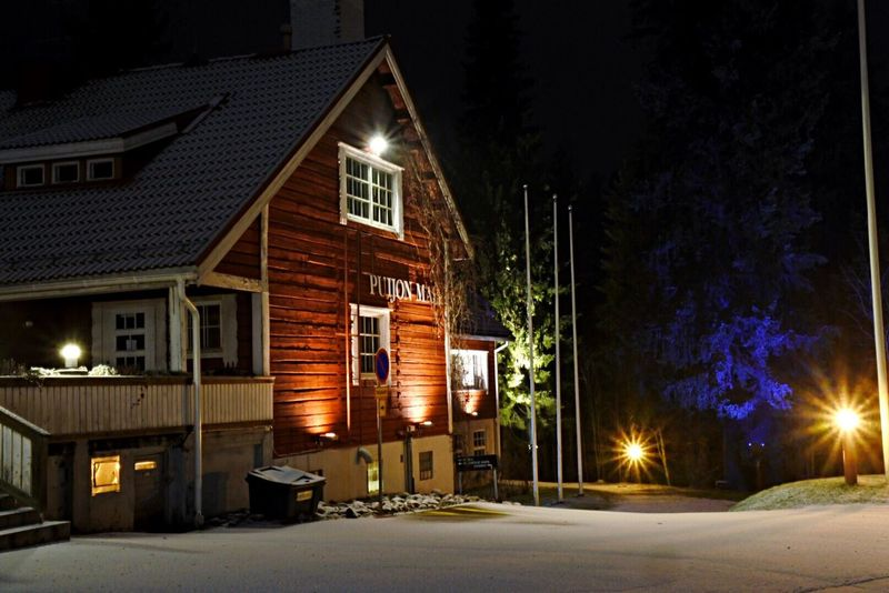 Illuminated Night Building Exterior Built Structure Architecture Tree No People House Snow Winter Kuopio Outdoors Sky Puijo Cold Temperature First Eyeem Photo