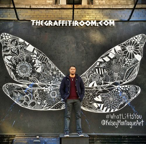 Art By: Kelsey Montague Art Whatliftsyou Kelseymontagueart Whatliftsyou Butterfly Wings Street Photography Street Art Art, Drawing, Creativity ThatsMe ArtWork Today's Hot Look Faces In Places