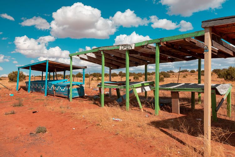 Colorful abandoned  navajo market stalls somewhere along the highway in arizona