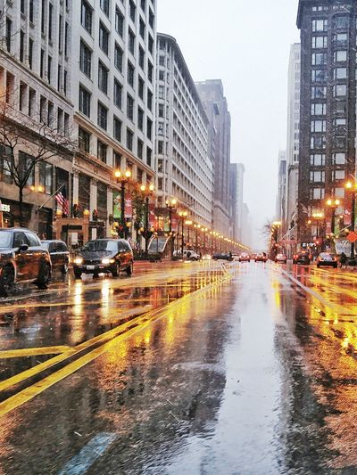 Chicago Street with snow and rain