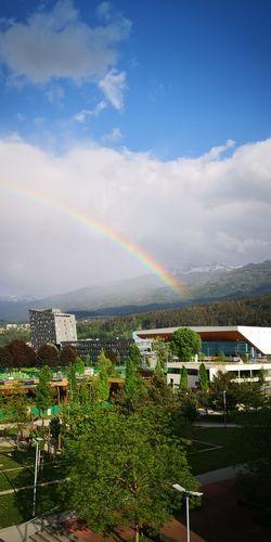 City Multi Colored Mountain Spectrum Rainbow Tree Double Rainbow High Angle View Sky Cloud - Sky