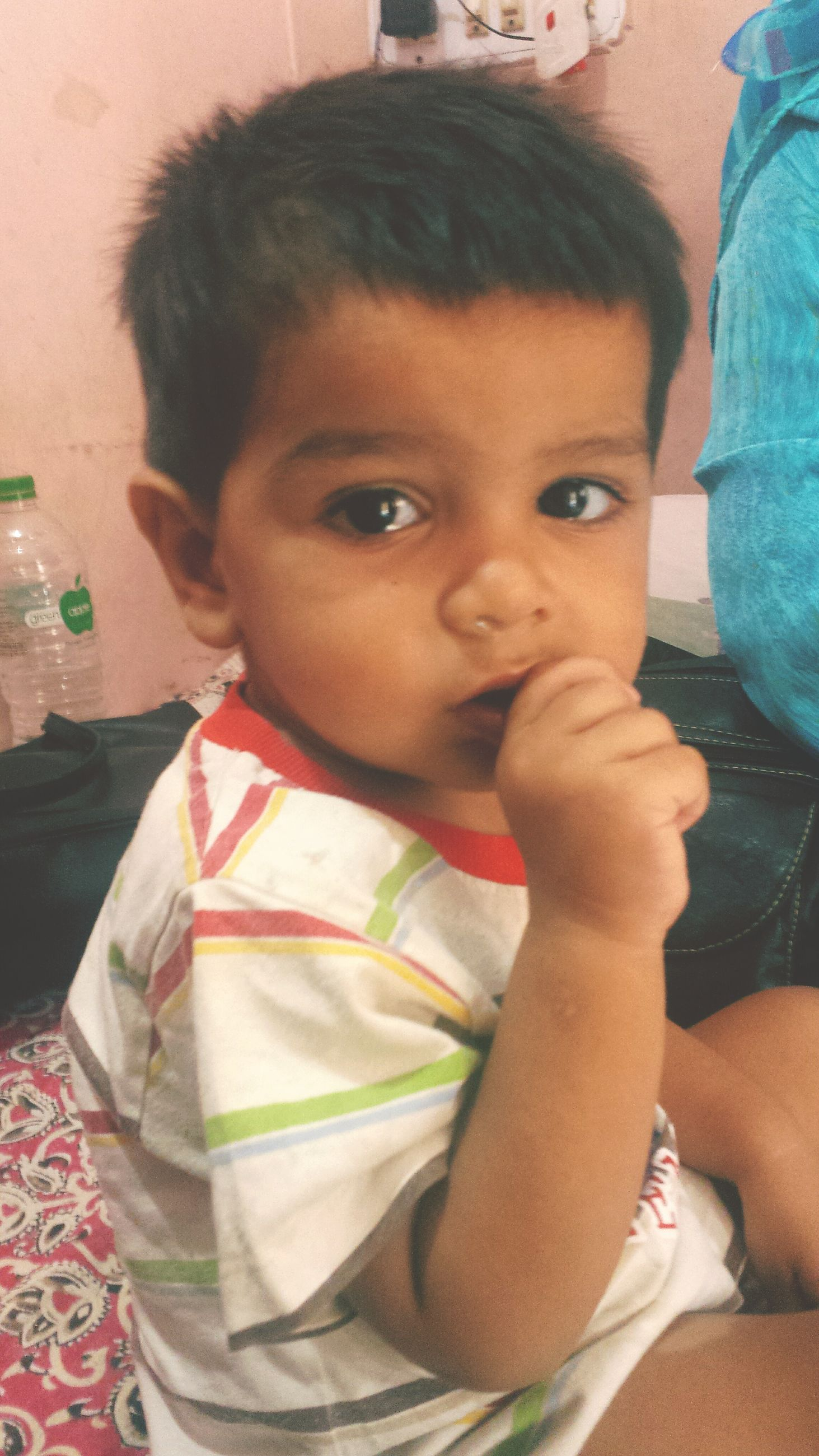 childhood, innocence, indoors, real people, cute, baby, one person, toddler, boys, home interior, looking at camera, close-up, portrait, day