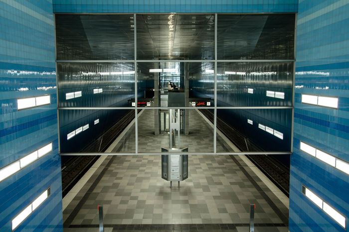 Hamburg Underground by www.eightTWOeightSIX.de Symmetrical Geometric Symmetry Architecture Future Futuristic Future Vision Empty Empty Places Emptiness Underground Underground Station  Undergroundpassage Hamburg Urban Geometry Urban No People Clean Blue Technology Modern Transportation The Way Forward Subway Station Subway The Architect - 2017 EyeEm Awards Mobility In Mega Cities Stories From The City